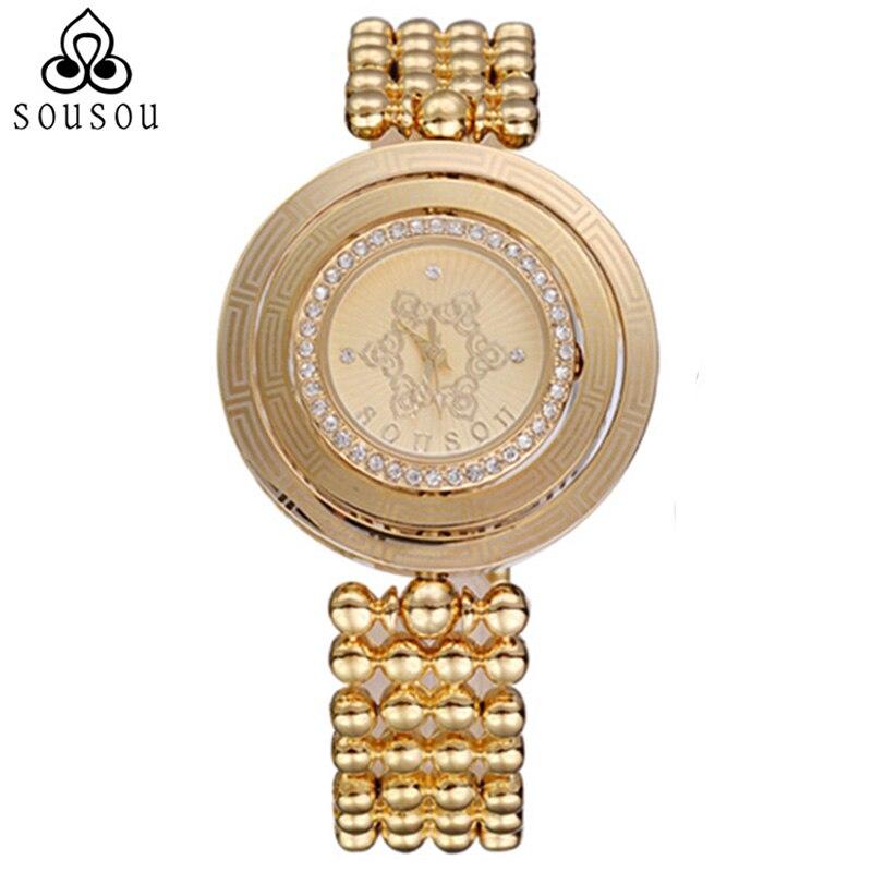 SouSou Brand Womens Rotate Gold Beads Bracelet Watch for Women 30m Waterproof Women Dress Watch Hodinky Women 2016<br>