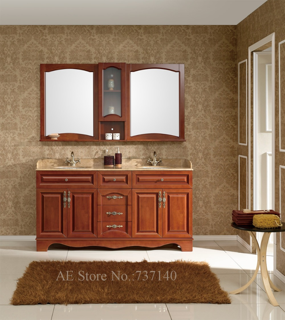 Double Basin Bathroom Cabinet High Quality Solid Wood And Marble