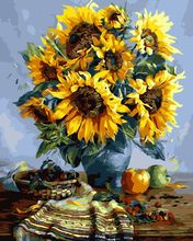 New Home Decor  2017 Acrylic pigment Sunflower Coloring by Numbers On Canvas Hand Painted Cuadros DIY Oil Painting