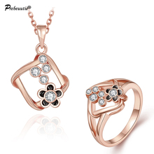 Special design for European buyers! tin alloy oil drip Czech drill rose gold plated  jewelry set:pendant necklace and ring