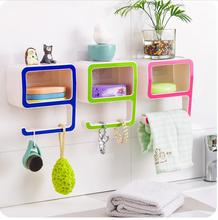plastic storage box organizer Creative Number 9 Storage Soap Rack Plastic Boxes Suction Make up Bathroom Organizers Decorate(China)