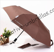 Free shipping,auto open&auto close torch umbrella,three fold,light umbrella,night parasol,drop shipping/OEM allowed(China)
