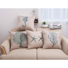 Sea Horse Pillows Home Decor Aquatics Life Star Fish Ocean Creature Cushion Cover for Sofa  Coral Seedweed Pillows Case 45x45cm