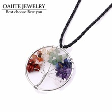 OAIITE 7 Chakra Rainbow Tree Of Life Pendant Necklace Women Clothing Accessories Imitate Natural Stone Crystal Fashion Jewelry