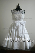 Affordable Lace Corset Taffeta Knee Length Wedding Dresses Factory Real Photo