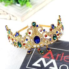 New Handmade European Baroque Crown Green Crystal Wedding Hair Accessories Golden Hairbands Factory Directly Sell