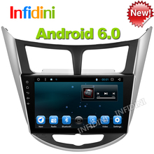 pure android 6.0 Car dvd gps player 1024*600 quad core for Hyundai Solaris Verna car headunit car radio video player navigation