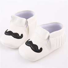 High Quality White/Black PU Leather Baby Moccasins Tassel Mustache Shoes First Walkers Anti-slip Footwear Newborn Soft Shoes