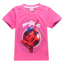 lady bug kids Ladybug Girl Miraculous Cartoon T-shirt For Girl Tees Summer Short Sleeves Boys Tops Teen Clothes Kids Shirts(China)