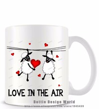 Love in the air funny novelty travel mug Ceramic white coffee tea milk cup Best Personalized Birthday Easter Valentines gifts(China)