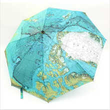 Fashion Three Folding World Map Painting Umbrella For Rain Anti-uv Sun Protection bumbershoot with good pongee material
