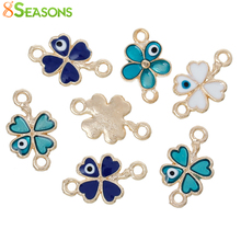"8SEASONS Four Leaf Clover Connectors Jewelry Findings Gold Color At Random Evil Eye Enamel 20mm( 6/8"") x 12mm( 4/8""), 10 PCs"