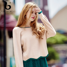 FINEWORDS Knitted Pullover Sweater Women Sweat Kawaii O-neck pull femme Autumn Winter 2017 Harajuku Outer Warm Knitting Sweater(China)