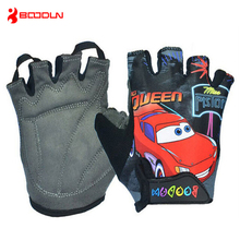 Boodun Sport Child Car Partten Riding MTB Cycling Gloves Half Finger Bike Skiing Gloves Breathable Summer Kids Bicycle Gloves
