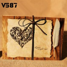 Vintage Heart Rose Feather Accordion Wedding Photo Album 7 Inch Scrapbooking Sticky DIY Memorial Picture Albums(China)