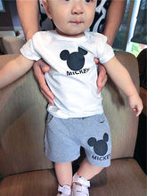 2 pcs Mickey Toddler Baby Boy Girl Short Sleeve T Shirt Top Shorts Roupa  Baby Girls Clothes 2016 Summer Sport Suit Clothes Set