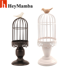 HeyMamba Vintage European White Iron Birdcage Candle Holders Metal Candlestick Holder For Wedding Bird Cage Wedding decoration(China)