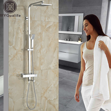 "Chrome Bathroom Thermostatic Mixer Shower Faucet Set Dual Handles Wall Mount Bath Shower Kit with 8"" Rainfall Showerhead"
