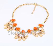 xl00353 New Design Rhinestone Sections Chunky European Orange Necklace For Party
