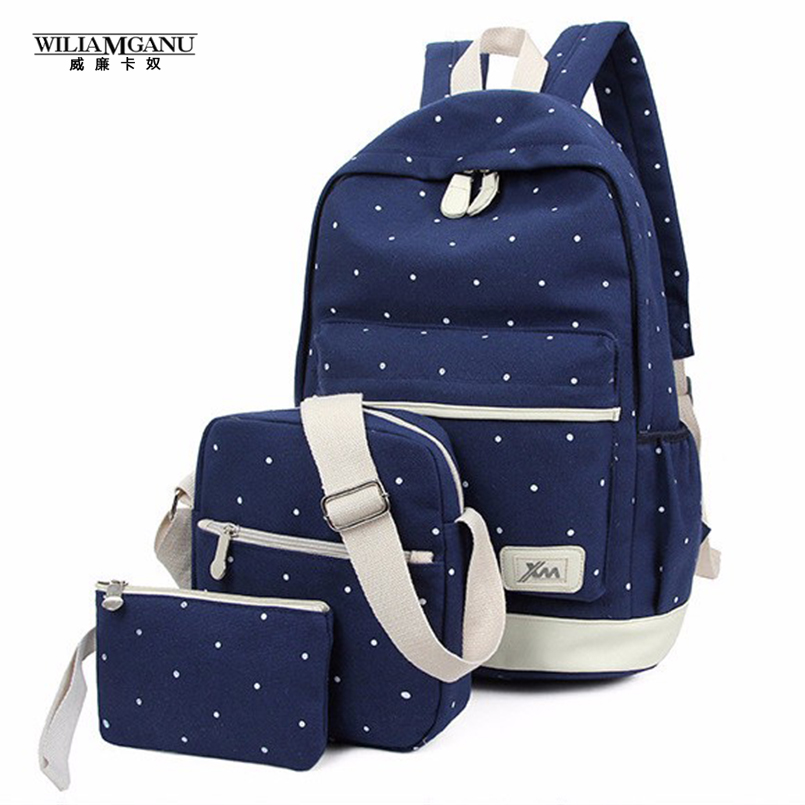 WILIAMGANU 3Pcs Korean Casual Women Backpacks Canvas Book Bags Preppy Style School Back Bags for Teenage Girls Composite Mochila<br><br>Aliexpress