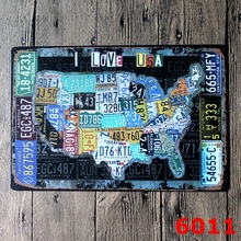 AMERICAN MAP DESIGN Metal Wall Sticker IRON Plaque PUB Wall Sticker house Tin Signs Shop Decor 20X30CM(China)