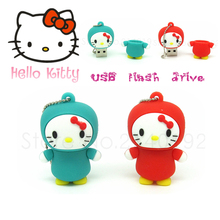 real capacity cute red/ blue hello kitty usb flash drive cartoon pen drive mini memory Stick 4GB 8GB 16GB 32GB new design(China)