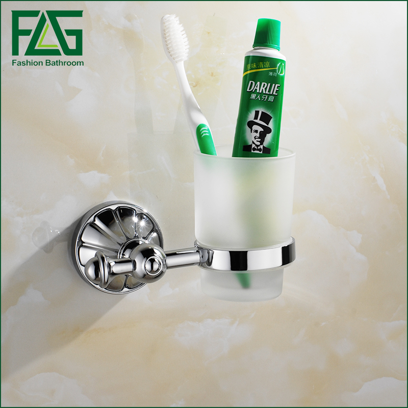 FLG Bathroom Accessories Toothbrush Tooth Cup Holder Zinc Alloy Single Cup Holder Glass<br>