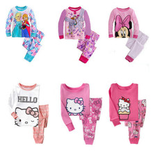 Syue Moon Boys Pajamas Sets 2017 Kids hello kitty Pyjamas Children 100%cotton Sleepwear Baby Girls Homewear Nightwear Clothes