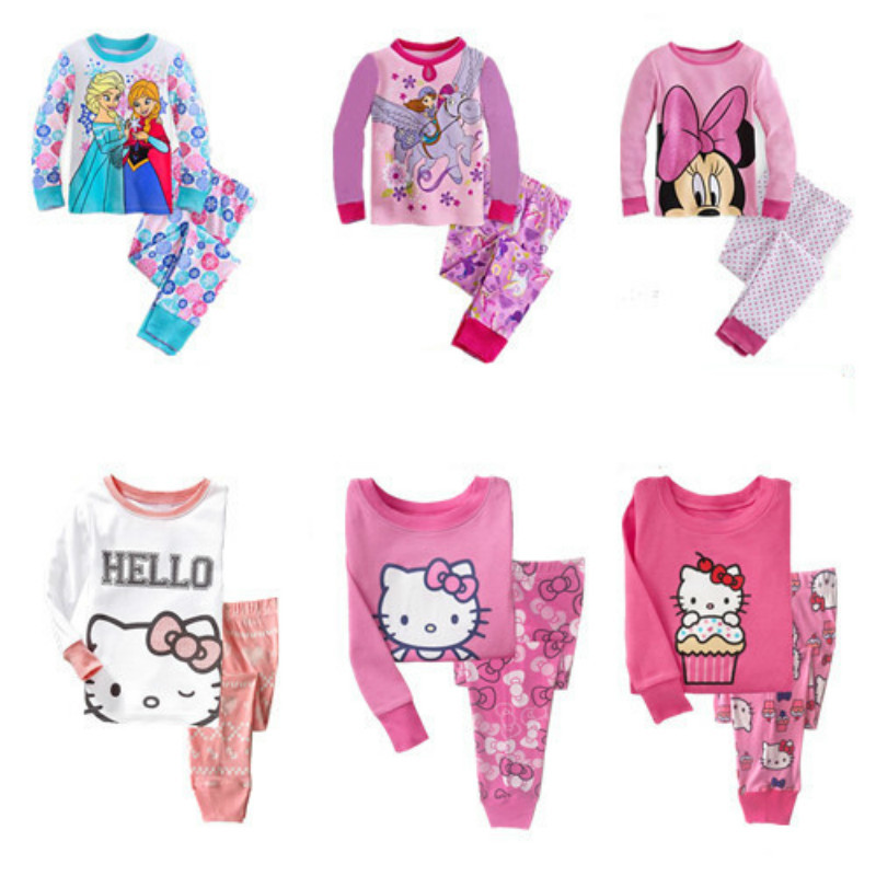 Syue Moon Boys Pajamas Sets 2017 Kids hello kitty Pyjamas Children 100%cotton Sleepwear Baby Girls Homewear Nightwear Clothes(China)