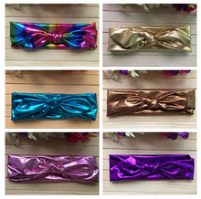 5pcs/lot Free Epacket/CPAP Metallic Messy Bow Knot Head wraps, Jersey Knit Headwraps,Gold/Silver Knott Headband