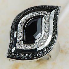 Black Onyx Women 925 Sterling Silver Ring R592 Size 6 7 8 9 10 11 12