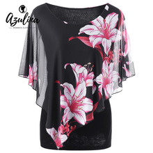 Buy AZULINA Plus Size 5XL Overlay Floral Print Chiffon Blouses Shirts Women Clothing Summer Loose Ruffle Black Tops Oversized Blusas for $14.99 in AliExpress store