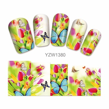 ZKO DIY Water Transfer Flower Caton Design Nails Nail Art Tips Stickers Decals Decoration 1380