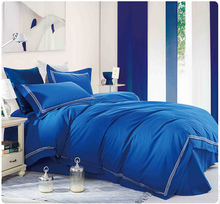 100% cotton Embroidery luxurious hotel bedding sets 4pcs queen king bedlinen bedclothes blue comfortable