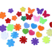 CCINEE 240PCS Eco-friendly Heart Flower Butterfly Style Felt Fabric Pads Patches Accessory  Padded Felt Shape Craft