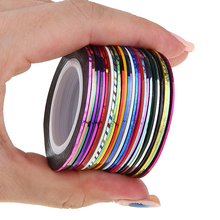 30pcs/pack 2m Mixed Colors Rolls 3D Striping Tape Line DIY Nail Art Decoration Sticker Uv Gel Polish Tips Metallic Yarn Decal