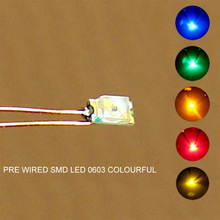 C0603 20pcs Pre-soldered micro 0.1mm Copper Wired 0603 SMD Led Yellow Orange Red Blue Green NEW(China)