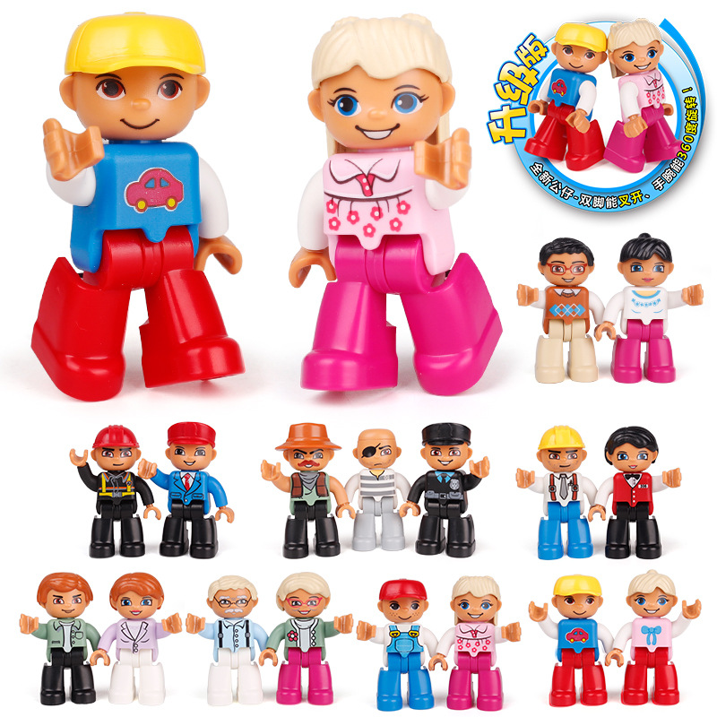 Legoing Duplo Princess Pirate Policemen Prisoner Family Worker Police Figure Big Size Building Block Compatible Legoings DUPLOED