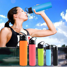 Creative Silicone Water Bottles Portable Foldable Outdoor Travel Sport Camping 600ML Water Bottle