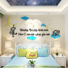 Cartoon 3D Mirror Acrylic Monkey Trees height Wall Sticker Baby Room Children Bedroom Wall Stickers Home Decor Wall Art Sticker
