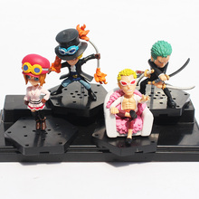 DHL 60Sets/lot Anime One Piece Figures Nami Zoro Sabo Koala Doflamingo PVC Figure Toys 6~8cm 4pcs/set Wholesale