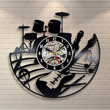 2017 Hot CD Vinyl Record Wall Clock Modern Design Musical Theme Decorative Black Art Watch Clock Saat Relogio De Parede(China)