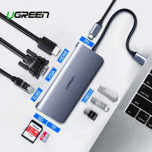 Ugreen Thunderbolt 3 адаптер док-станции usb Тип C до 3,0 концентратор HDMI type-C конвертер для MacBook huawei mate 20 P20 Pro USB-C адаптер(China)
