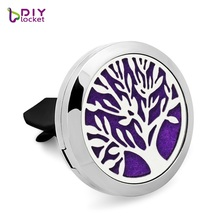 1PC! 30mm Tree car aromatherapy locket magnetic open aroma diffuser 316L stainless steel car perfume floating locket LSLA192-198(China)