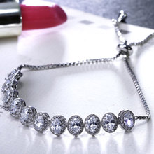 Online shopping Hot picks wholesale jewelry Deluxe Oval shape Cubic zirconia stones Luxury crystal bridal Free size bracelet