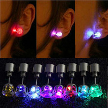New Light Up Led Stainless Steel Earrings Studs Dance Party one picee Accessories for Xmas New Year Men Women