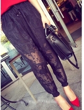 Splicing Lace Crochet See Through Fish Net Leisure Trousers Korean Street Fashion women pant pantalon femme pantalones mujer