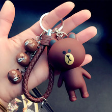 Cartoon Toys Doll Rubber 4 Animal Pendant Keychain Keyring Leather Rope Car Key Chain Handbag Charm Porte Clef Valentine Gift