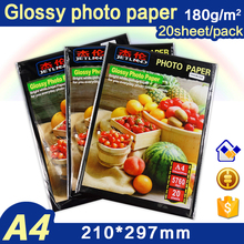 20 sheets A4 glossy photo paper 180gsm waterproof  imaging printing for inkjet printer