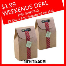 Weekends Deal Packaging Real Food Bags 350g Kraft Paper Cake Cookies Packing10*6*15.5cm Bag Flexiloop Handle Package(China)
